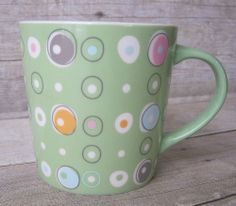 Starbucks Coffee MUG cup RETRO CIRCLES mint green 2005 - purple orange blue pink #Starbucks