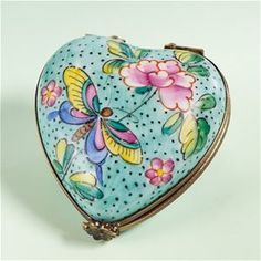 Limoges Blue Heart with Butterflies Box The Cottage Shop