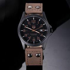 Sanwony New Arrival Vintage Classic Men's Date Leather Strap Sport Quartz Watch