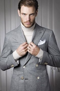 Men with Turtleneck sweater with a double breasted suit. Also Learn 6 cool Ways to Style Your Turtleneck Sweater like a Pro — Mens Fashion Blog - The Unstitchd
