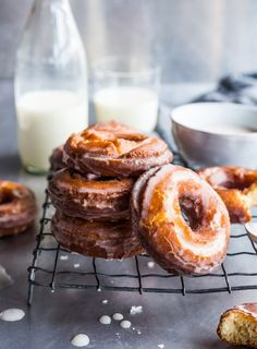 Delicious spiced sour cream cake doughnuts with a salty maple glaze.