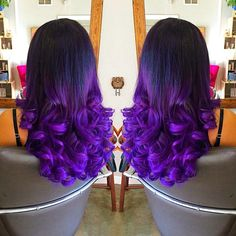 Black to Purple Mermaid Dip Dye Colorful Ombre! Email to service@fohair.com to customize your own. www.fohair.com --- shipping worldwide #purplehair #hairextension #hairdiy #dyedhair #hairstyle #curlyhair #hairstyle #harr