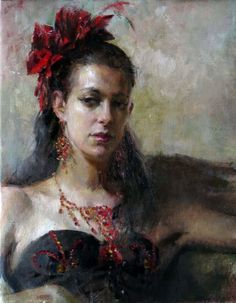 """Mary Qian """"Dancer"""" 20 x 16 Oil available at SaksGalleries.com"""