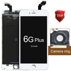 2pcs 5.5 For iphone 6 plus LCD screen with Touch Screen Digitizer Assembly Replacement+AAA LCD+Camera+Frame