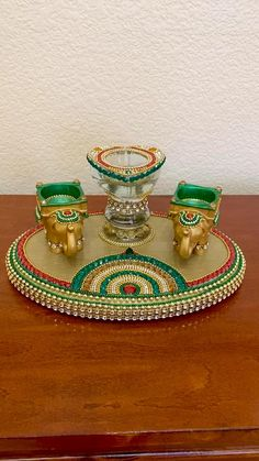 Diwali Candle Holders, Diwali Candles, Candle Holder Decor, Diwali Decoration Items, Thali Decoration Ideas, Diwali Diya, Diwali Craft, Diy Arts And Crafts, Clay Crafts