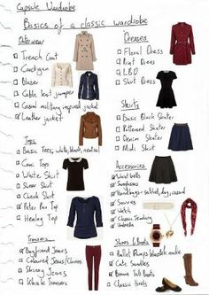 Basics of a Classic Wardrobe Wardrobe Essentials Fashion basics Capsule wardrobe One suitcase Preppy classic autumn winter style by Raelynn8