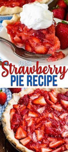 Pie recipes 431923420512328635 - This easy FRESH Strawberry Pie Recipe has a filling with no gelatin and tons of fresh strawberries. Make it with your favorite pie crust for the perfect summer pie recipe! Source by sprackle Summer Dessert Recipes, Breakfast Recipes, Easy Strawberry Pie, Fresh Strawberry Pie Recipe With Jello, Strawberry Pie Fillings, Recipes With Fresh Strawberries, Stawberry Pie, Fresh Recipe, Strawberry Summer