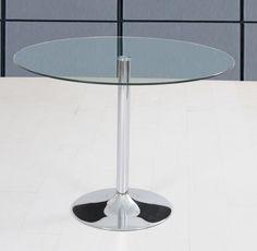 Preciosa mesa redonda de cristal, perfecta en todo tipo de ambientes, elegante y sencilla. kitkay.es