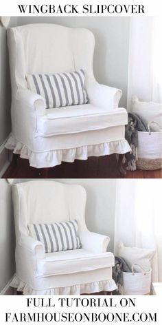 Drop Cloth Slipcover, Wingback Chair Slipcovers, Reupholster Furniture, Furniture Upholstery, Furniture Design, Diy Furniture, Upholster Chair, Furniture Chairs, Plywood Furniture