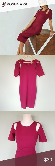 "Fabletics Eva Midi Dress Cut Out Fabletics. Eva Midi Cutout Dress. Women's Medium. Color- Wine Red  Both sporty and sleek, this wear-anywhere midi dress features performance technology to take you from your desk to drinks. An invisible closure creates a seamless effect and cutouts at the sleeves keep you cool. Short sleeve. Rayon Nylon blend fabric. Full zip back.  Excellent, like new, condition! Bust- 17.5"" Length- 44"" Fabletics Dresses Midi"