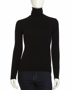 Cashmere Long-Sleeve Turtleneck, Black by Neiman Marcus at Neiman Marcus Last Call.