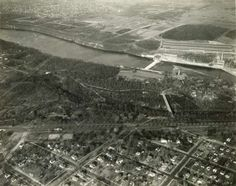 Aerial view of Minnehaha Park and the Minnesota Soldiers Home and surrounding area, Minneapolis; looking east toward Ford Plant in St. Paul