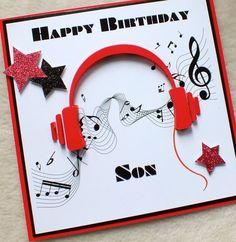 Handmade Son 3D Music Headphones Birthday Card £4.80