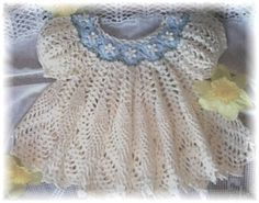 "Crochet Pattern for ""Dainty Doily"" Baby Dress by Rebecca Leigh 6 9 12 18 Mos Crochet Baby Dress Pattern, Baby Girl Crochet, Crochet Baby Clothes, Knit Crochet, Crochet Patterns, Crochet Collar Pattern, Crochet Dresses, Pattern Dress, Dress Patterns"