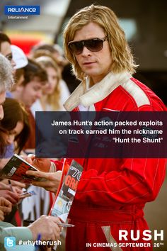 Rush for everything is not very good as it may give fatal results too. Just like the rush for glory and fame had resulted in intense rivalry between James Hunt and Niki Lauda during season of Rush Movie, James Hunt, F1 Season, Deadpool Videos, Entertaining, Movies, Films, Cinema, Movie