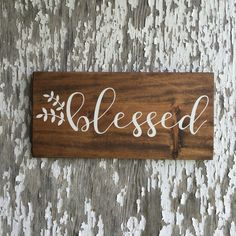 "Blessed, Stained and White, Wood Sign, Wall Décor, Fall Sign, 9x19"" by…"
