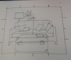 how to draw a sofa in one point perspective - Google Search