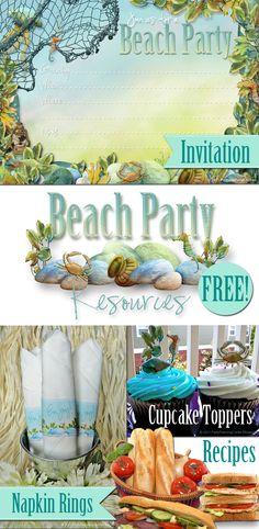 FREE Beach Party Printables and Gourmet Sandwich Recipes