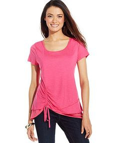 Style&co. Ruched Asymmetrical Tiered-Hem Tee