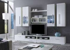 FELIS Wohnwand/Anbauwand weiss Dekor - schlichtes Design für das Wohnzimmer