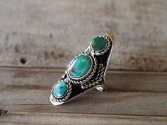 Three Stone Turquoise Ring