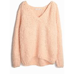 Vintage 90s Super Chunky Knit Sweater in Pale Apricot women's small... (1 120 ZAR) ❤ liked on Polyvore featuring tops, sweaters, over sized sweaters, red sweater, red top, chunky oversized sweater y thick knit sweater