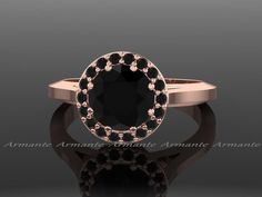 Black Diamond Vintage Ring, Rose Gold Vintage Style Natural Black Diamond Engagement Ring 14K Rose Gold by Armante on Etsy