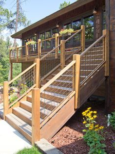 Wire Deck Railing, Balcony Railing Design, Deck Stairs, Outdoor Railings, House Deck, House With Porch, Diy Deck, Decks And Porches, Building A Deck