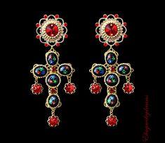 Black red cross earrings Fashion crystal Women's Earrings Black Red Crystal Gold #Handmade #Chandelier