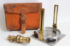 Vintage Surveyor's Compass with Leather Case by FlynnTellsAStory, $145.00