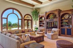 Traditional Living Room with High ceiling, Exposed beam, Carpet, limestone tile floors