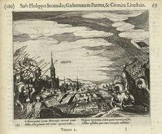 Simon Frisius | Beleg van Grave door Parma, 1586, Simon Frisius, Michiel Colijn, 1613 - 1615 | Beleg van Grave door de troepen van Parma, april 1586. Gevechten buiten de muren van stad. Met onderschrift van 4 regels in het Latijn. Genummerd 180. Bedrukt op achterzijde met tekst in het Latijn.