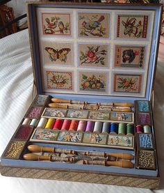 made by Perles 8 glass topped boxes of beads. X Antique childs sewing presentation box. made by Perles 8 glass topped boxes of beads. Sewing Tools, Sewing Hacks, Sewing Crafts, Sewing Kits, Sewing Labels, Sewing Men, Sewing Tutorials, Vintage Sewing Notions, Antique Sewing Machines