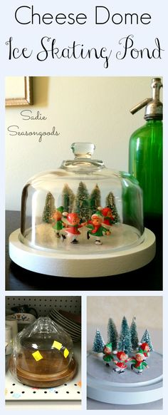 Creating a vintage ice skating pond Christmas display using a thrifted cheese dome cloche by Sadie Seasongoods