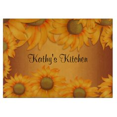 Sunflowers Decorative Glass Cutting Board .......... Great for a sunflower theme in the kitchen...... http://www.zazzle.com/sunflowers-256621158395590740?rf=238631258595245556