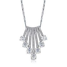 Elegant Fashion Simulated Diamond White Gold Plated Tassel Pendant Necklace