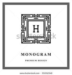 Geometric Monogram logo Abstract Vector template in trendy mono line style Letter emblem H Monochrome vintage hipster Minimal Design elements for logo, badge, banner, insignias, frame, label