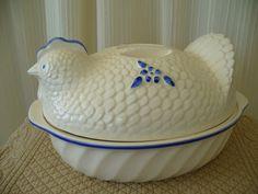 Vintage White and Blue Nesting Hen Tureen