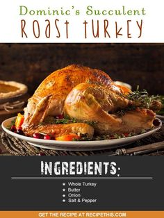 Turkey Recipes Roasted Fruity Roast Turkey Recipe – A Fast and Easy Holiday Turkey Turkey Recipes Roasted. Cooking for Thanksgiving, Christmas, or any other holiday? The truth is, your roast … Roast Turkey Recipes, Paleo Thanksgiving, Christmas Cooking, Christmas Recipes, Roasted Turkey, Tasty Dishes, Easy Dinner Recipes, Easy Meals, Main Dishes