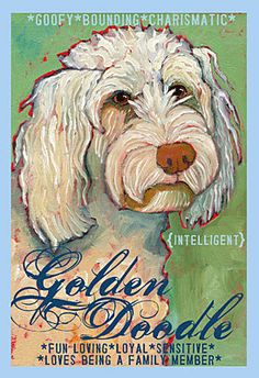 Golden Doodle Dog Colorful Print from Oil Original by Ursula Dodge