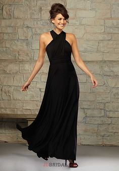 LOVE LOVE LOVE this!!!!!! So elegant! 2016 New Style Halter Beach Long Black Dress For Bridesmaid