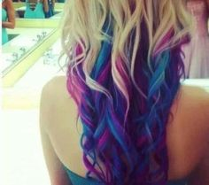 Hair Chalk — Stunning Purple and Blue Reverse Ombre Hair