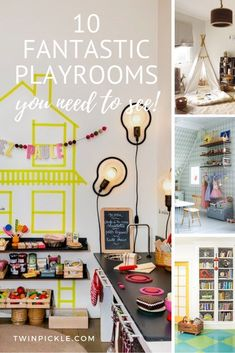 These 10 fantastic playrooms you need to see will leave you feeling inspired to bring some magic to your kids play spaces. Bold color, cute book and toy storage, play kitchens, decals and wallpaper... even a feature fish. Give your little ones a little whimsy in their life! #playroom #homedecor #interiordesign #kidsdecor #momlife