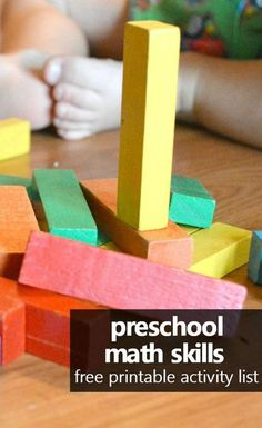 This brief introduction to preschool math skills and the goals of early math instruction includes a free printable list of preschool math skills and easy activities you can try right away. #preschoolathome #preschoolmath #homeschoolpreschool