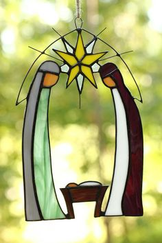 Nativity Stained Glass Window Decoration por LightTreeStudio