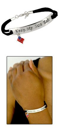 Keep My Son Safe Flag Charm Bracelet at The Veterans Site. I have one of these and placing an order for a spare.