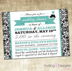 Wedding Shower Invitation PRINTABLE FILE by InvitingDesignStudio, $18.00 (would go nice with the centerpieces u sent me)
