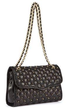 Rebecca Minkoff Black Quilted Shoulder Bag with Gold Studded Detailing | Holt Renfrew