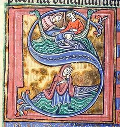 Psalm 069 (Vulg., 068). 1) Jonah: cast overboard -- In sailboat with bird prows, two men, one hooded, throw Jonah, hooded, into mouth of whale in sea. 2) Jonah: cast up -- Jonah, hooded, with left hand to face, sits on whale on sea. Scenes within initial S against gold background (abraded), within decorated frame edged with green.