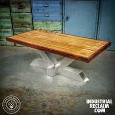 Check out this coffee table made of reclaimed bowling lane with a custom aircraft aluminum base on IndustrialReclaim.com #reclaimed #repurposed#industrialfurniture#modernfurniture #design #art #handmade #decor #vintage #vintageindustrial #industrial#artofchi #creative #aluminum #metal #metalwork #welding #industrialdesign #interiordesigner #interiordesign #modern #moderndesign #modernindustrial #chicago #Chicagoart #insta_chicago #chicagogram